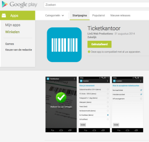 De scan app van ticketkantoor staat nu in de Google Play Store